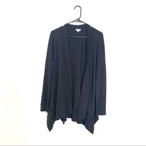 Splendid Waffle Knit Thermal Open Cardigan Black M